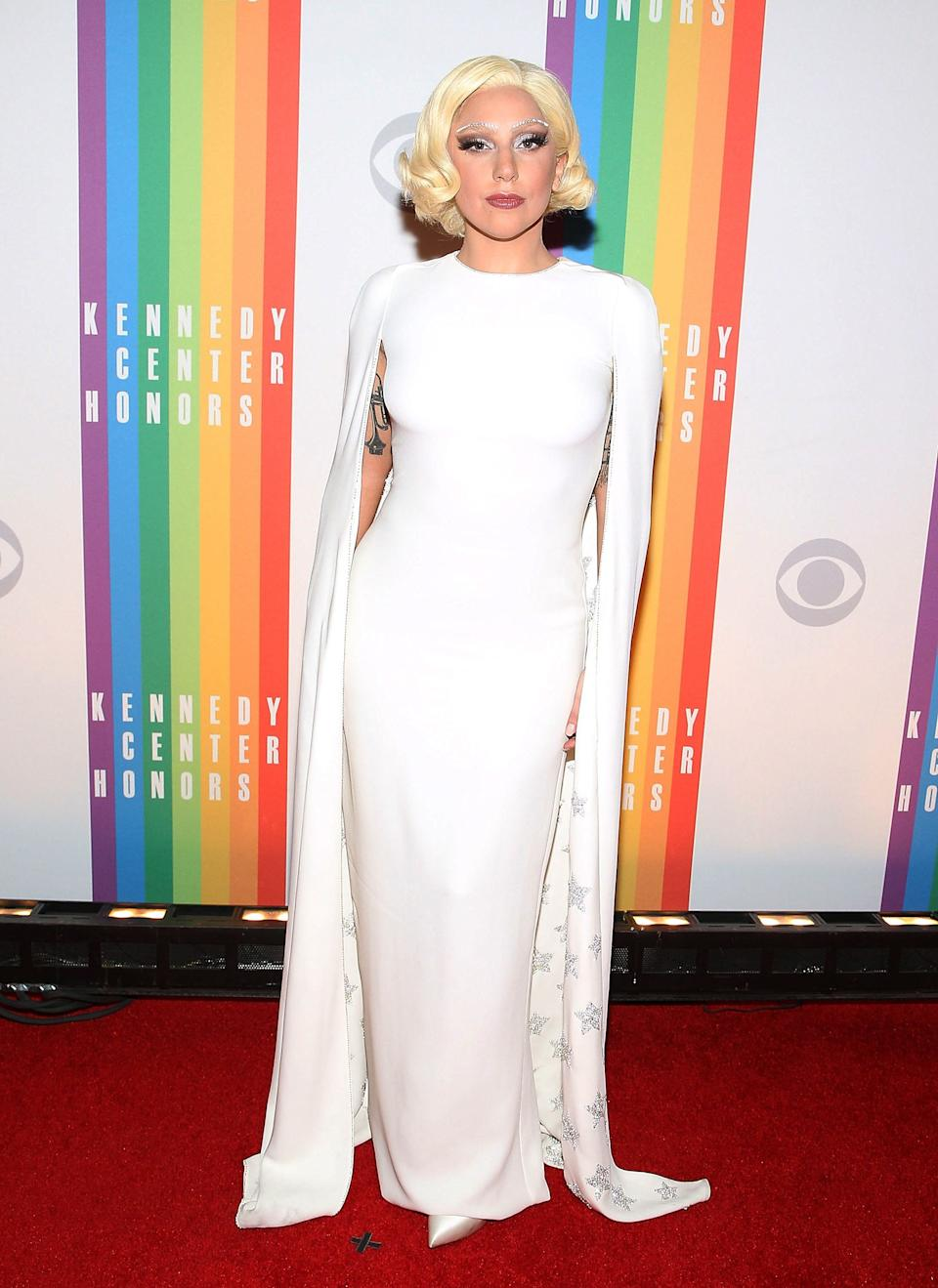 Gaga wears a Valentino gown on the red carpet at the 37th Annual Kennedy Center Honors in Washington, D.C., on Dec. 7, 2014.