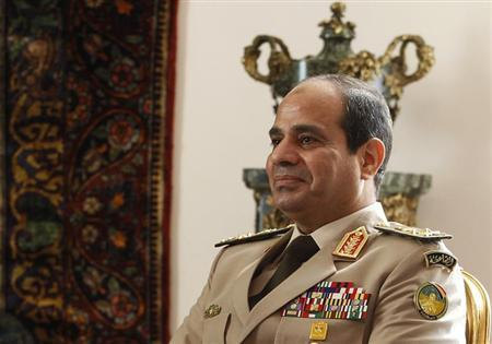Egypt's Army Chief General Abdel Fattah al-Sisi attends a meeting in Cairo