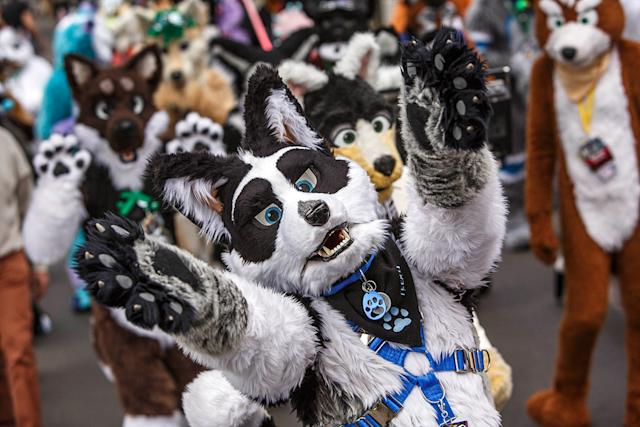 Thousands of people in cartoon animal costumes attend