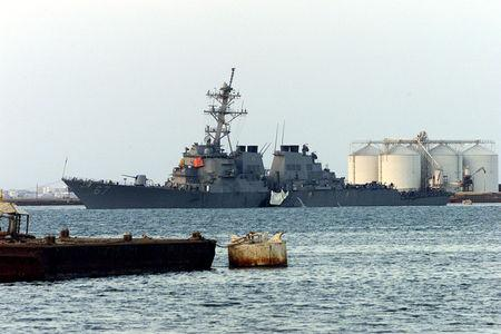 FILE PHOTO: A US NAVAL WAR SHIP THE USS COLE IN THE YEMENI PORT OF ADEN.