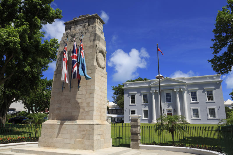 <strong>Bermuda has become the first country in the world to repeal same-sex marriage (file picture showing a war memorial at a cabinet building in Hamilton) </strong> (Richard Cummins via Getty Images)