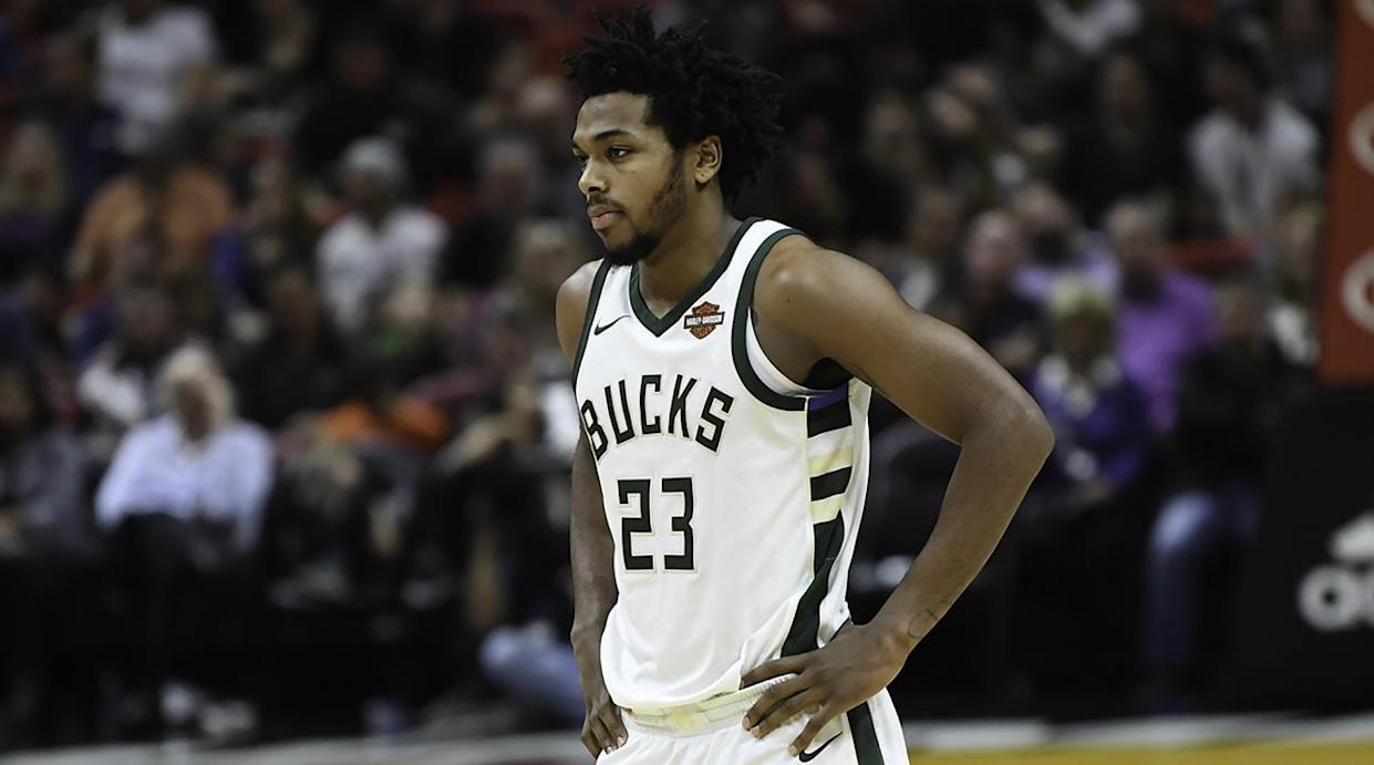 """<a class=""""link rapid-noclick-resp"""" href=""""/nba/teams/mil"""" data-ylk=""""slk:Milwaukee Bucks"""">Milwaukee Bucks</a> guard <a class=""""link rapid-noclick-resp"""" href=""""/nba/players/5859/"""" data-ylk=""""slk:Sterling Brown"""">Sterling Brown</a> filed suit against the city of Milwaukee and the city's police department. One of the officers was fired Thursday. (AP)"""