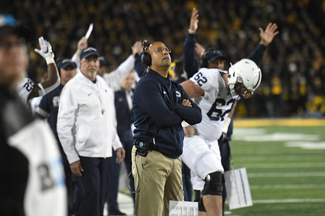 Penn State coach James Franklin watches the replay of an apparent touchdown that was called back during Saturday's game against the Iowa Hawkeyes. (Getty)
