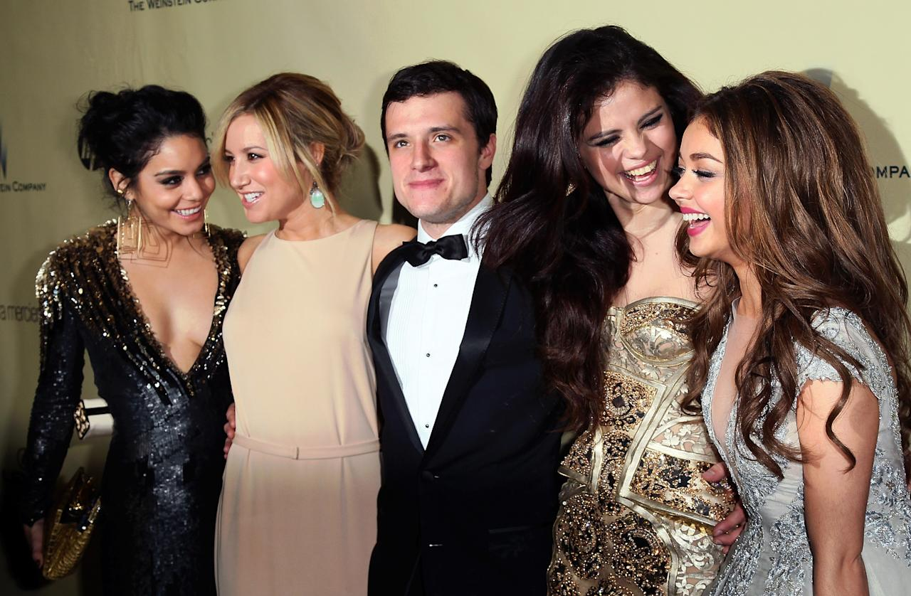 BEVERLY HILLS, CA - JANUARY 13:  (L-R) Actors Vanessa Hudgens, Ashley Tisdale, Josh Hutcherson, Selena Gomez and Sarah Hyland attend The Weinstein Company's 2013 Golden Globe Awards After Party at The Beverly Hilton hotel on January 13, 2013 in Beverly Hills, California.  (Photo by David Livingston/Getty Images)