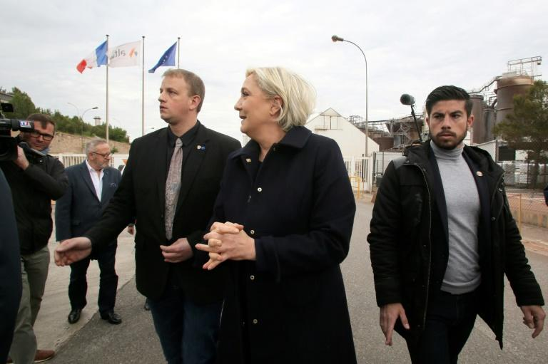 French far-right presidential candidate Marine Le Pen arrives at the Alteo aluminium plant in southern France