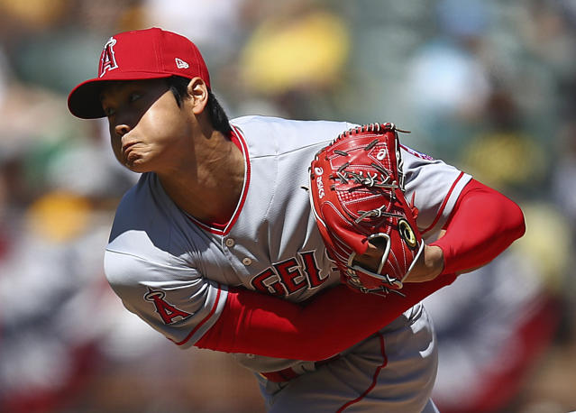 The Los Angeles Angels' Shohei Ohtani works against the Oakland Athletics during the second inning on Sunday. (AP)