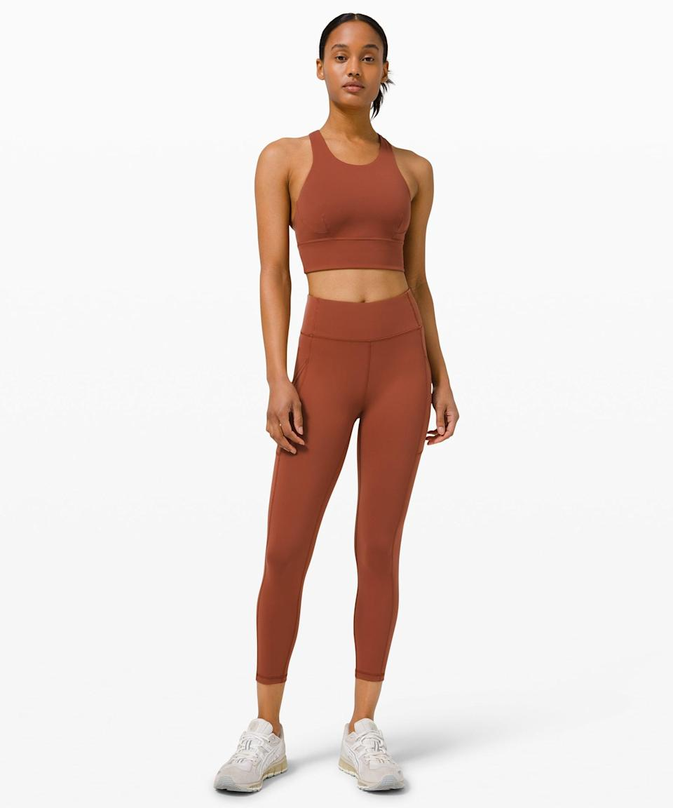<p>We're obsessed with the color and fit of this <span>Lululemon Wunder Train Long Line Bra</span> ($68) and <span>Invigorate High-Rise Tight</span> ($128).</p>