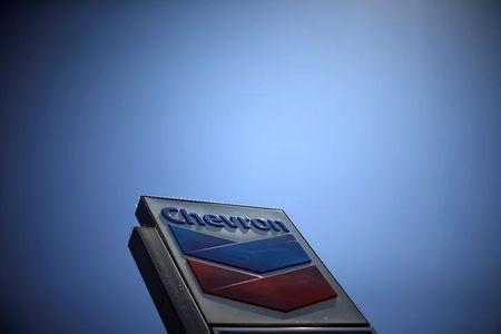FILE PHOTO - The logo of Chevron (CVX) is seen in Los Angeles, California, United States, April 12, 2016. REUTERS/Lucy Nicholson/File Photo