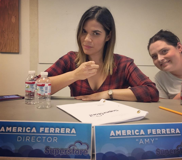 "<p>Boss babe! ""This is my Director face,"" the actress joked at her show's table read, where she was photobombed by co-star Lauren Ash. ""Reporting for double duty again on @nbcsuperstore"" (Photo: <a href=""https://www.instagram.com/p/BaXce6CDAq7/?taken-by=americaferrera"" rel=""nofollow noopener"" target=""_blank"" data-ylk=""slk:America Ferrera via Instagram"" class=""link rapid-noclick-resp"">America Ferrera via Instagram</a>) </p>"