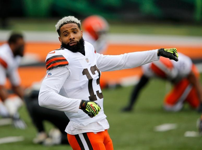 Oct 25, 2020; Cincinnati, Ohio, USA; Cleveland Browns wide receiver Odell Beckham Jr. (13) warms up before the game between the Cincinnati Bengals and the Cleveland Browns at Paul Brown Stadium.