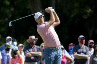 Stewart Cink eyes his drive off the ninth tee during the third round of the RBC Heritage golf tournament in Hilton Head Island, S.C., Saturday, April 17, 2021. (AP Photo/Stephen B. Morton)