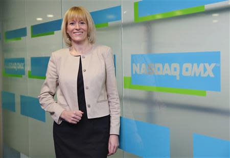 CEO Charlotte Crosswell of NASDAQ OMX NLX poses after an interview with Reuters in London