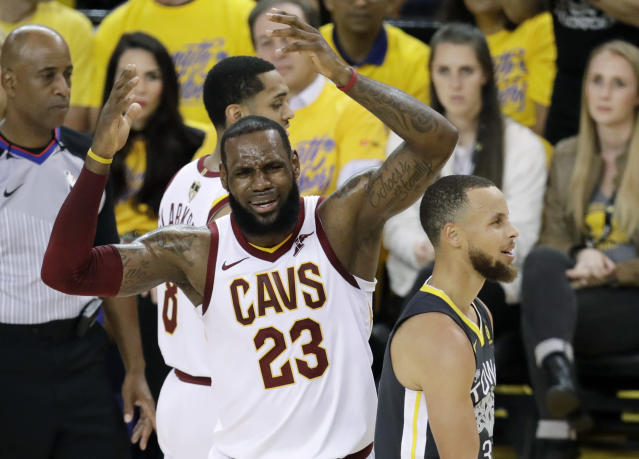 A few NBA players discussed LeBron James' free agency during Game 2 of the NBA Finals. (AP Photo/Marcio Jose Sanchez)