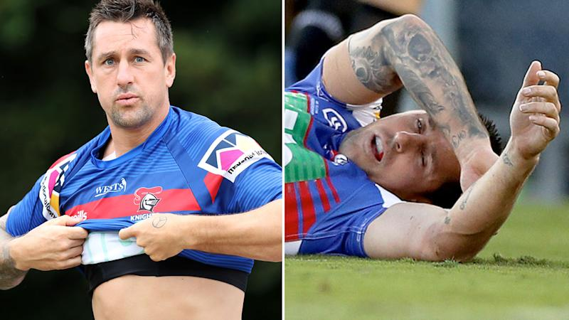 Pictured left, Mitchell Pearce at training while the right image shows him lying on the ground after being concussed.