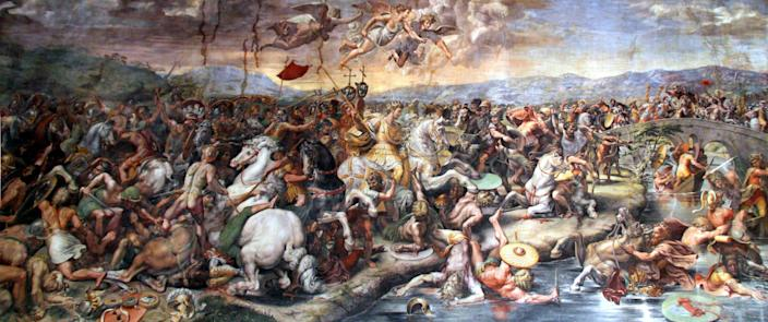 A 16th-century portrayal of the Battle of the Milvian Bridge of AD312 – one of the most important military events in world historyPublic domain