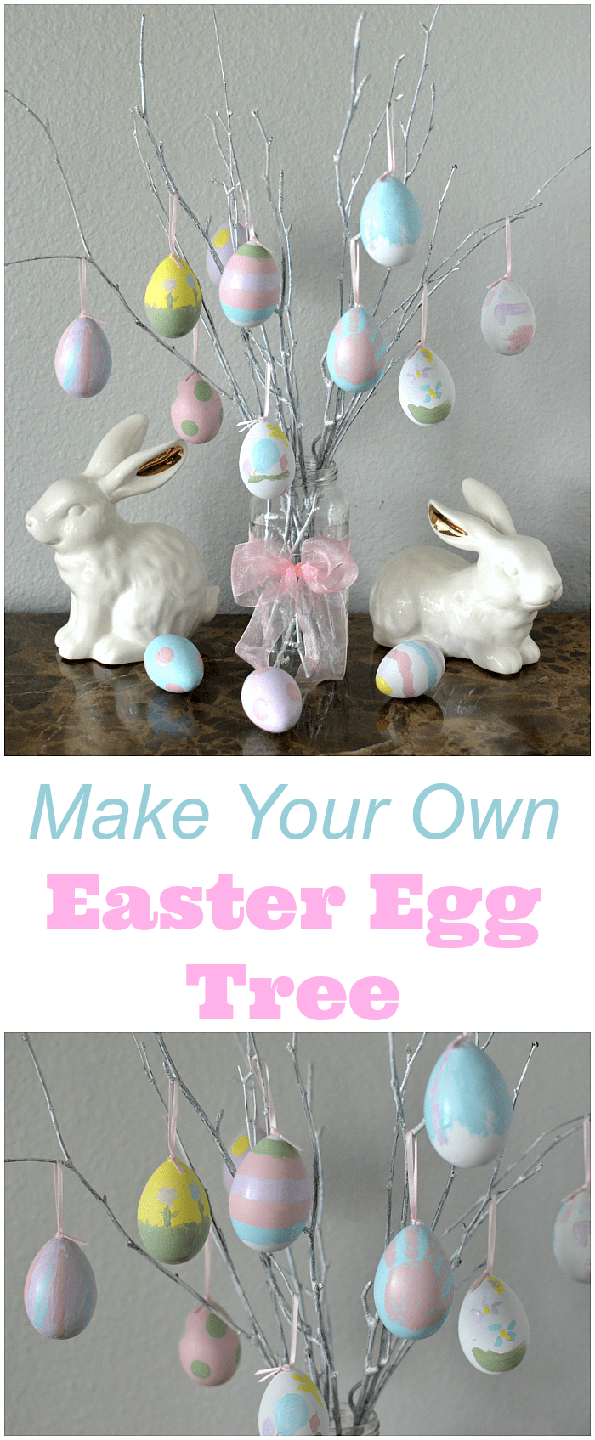 """<p>Get the kids involved in this project by having them paint white plastic eggs. Then, fill a jar or vase with a bundle of branches, hang the eggs, and you're done! </p><p><strong>Get the tutorial at <a href=""""https://www.thesuburbanmom.com/2017/04/06/make-easter-egg-tree/"""" rel=""""nofollow noopener"""" target=""""_blank"""" data-ylk=""""slk:The Suburban Mom"""" class=""""link rapid-noclick-resp"""">The Suburban Mom</a>.</strong></p><p><a class=""""link rapid-noclick-resp"""" href=""""https://www.amazon.com/Plastic-Paintable-Easter-Crafts-Fillers/dp/B08723KCGG/ref=sr_1_5?tag=syn-yahoo-20&ascsubtag=%5Bartid%7C10050.g.26498744%5Bsrc%7Cyahoo-us"""" rel=""""nofollow noopener"""" target=""""_blank"""" data-ylk=""""slk:SHOP PLASTIC EGGS"""">SHOP PLASTIC EGGS </a></p>"""