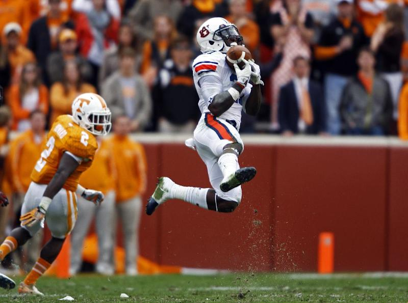 Auburn defensive back Robenson Therezie (27) intercepts a pass intended for Tennessee wide receiver Pig Howard (2) in the third quarter of an NCAA college football game on Saturday, Nov. 9, 2013, in Knoxville, Tenn. (AP Photo/Wade Payne)