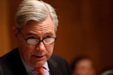 FILE PHOTO - Ranking Member Sen. Sheldon Whitehouse (D-RI) speaks at a Senate Judiciary Subcommittee on Crime and Terrorism hearing about Russian election interference on Capitol Hill in Washington, D.C., U.S. March 15, 2017.  REUTERS/Aaron P. Bernstein