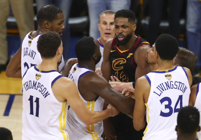 Cleveland Cavaliers center Tristan Thompson avoids suspension, is fined $25,000 after Game 1 altercation with Golden State's Draymond Green. (AP Photo/Ben Margot)
