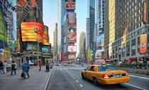 """<p>The gang spot Times Square while on the bus, but they also hit it up during their official school tour. The <a href=""""https://www.popsugar.com/smart-living/times-square-new-years-eve-ball-drop-details-2020-47825845"""" class=""""link rapid-noclick-resp"""" rel=""""nofollow noopener"""" target=""""_blank"""" data-ylk=""""slk:infamous intersection"""">infamous intersection</a> is more or less the neon-blazed commercial and entertainment heart of NYC, so it's unsurprising that LJ and Chris stop by during the peak of their adventure there. </p>"""