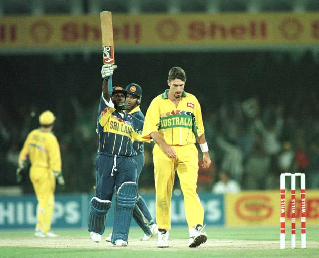17 March 1996:  Aravinda De Silva of Sri Lanka celebrates after reaching his century during the Cricket World Cup Final between Australia and Sri Lanka played at the Gaddafi stadium in Lahore. Mandatory Credit: Shaun Botterill/ALLSPORT