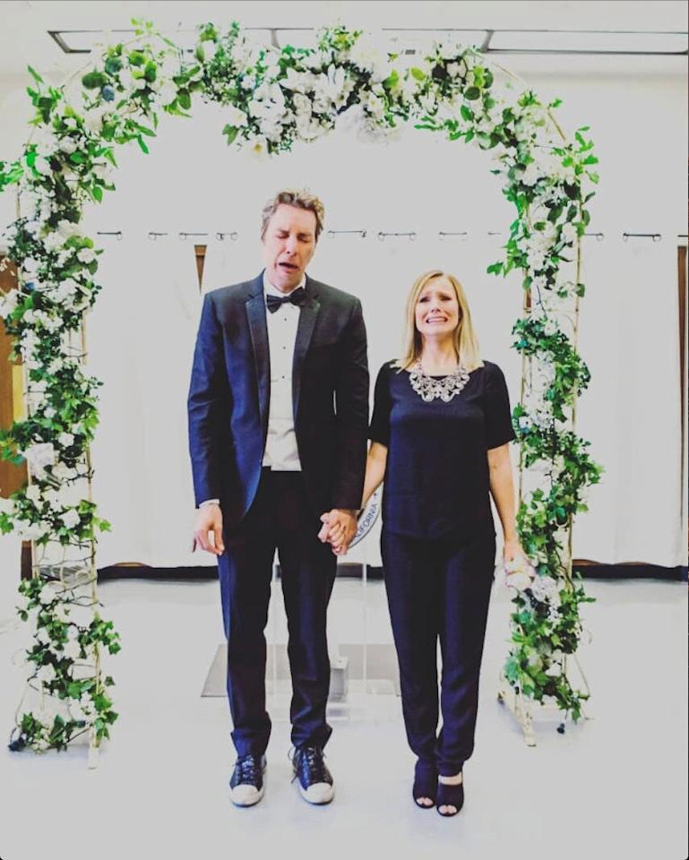 """The low-key couple began dating in 2007 and were wed in a courthouse wedding in Beverly Hills in 2013. Shepard and Bell had been waiting for same-sex marriage to be legalized before tying the knot. The wedding <a href=""""https://money.cnn.com/video/media/2016/07/25/kristen-bell-dax-shepard-wedding-pics.cnnmoney/index.html"""">cost just $142</a> to pull off.  Bell <a href=""""https://people.com/celebrity/kristen-bell-marries-dax-shepard/"""">told PEOPLE</a> of their decision, """"I don't fault anyone who wants a big day – especially girls, [but] we get more than enough attention in our everyday lives. I also wear more than enough party dresses."""""""