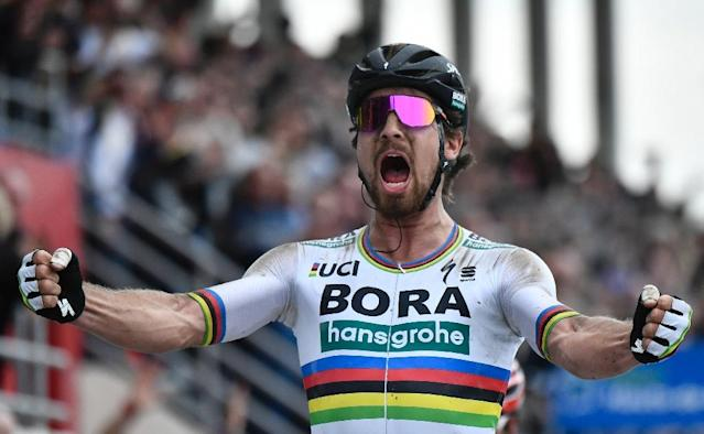 Slovakia's Peter Sagan, pictured in April 2018, edged a sprint finish to win the second stage of the Tour de Suisse (AFP Photo/JEFF PACHOUD)