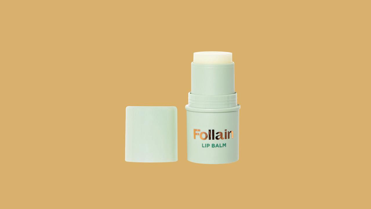 "<p>Infused with argan oil, shea butter, and chamomile flower oil, this little stick is exactly what you need to add suppleness and hydration to your lips, whenever and wherever.</p><p><em>Follain Lip Balm, $9, </em></p><p><a href=""https://follain.com/p/follain-lip-balm"">follain.com</a></p><p>.</p>"