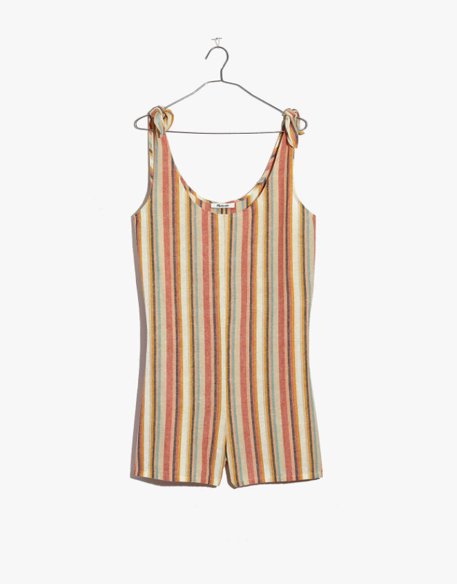 """<br> <br> <strong>Madewell</strong> Tie-Strap Cover-Up Romper in Rainbow Stripe, $, available at <a href=""""https://go.skimresources.com/?id=30283X879131&url=https%3A%2F%2Fwww.madewell.com%2Ftie-strap-cover-up-romper-in-rainbow-stripe-AM908.html"""" rel=""""nofollow noopener"""" target=""""_blank"""" data-ylk=""""slk:Madewell"""" class=""""link rapid-noclick-resp"""">Madewell</a>"""