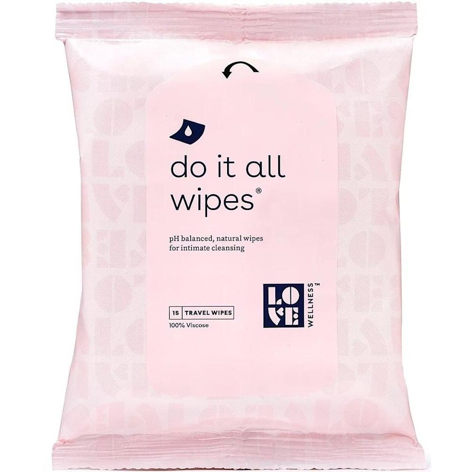 <p>Good news: the pH-balanced wipes in this little pink pack are free of both natural and synthetic fragrances. You might notice the <span>Love Wellness Mini Do It All Wipes</span> ($4 for 15 wipes) still have a scent, but the brand says that's just from the ingredients in the formula. Those ingredients include botanicals such as organic coconut oil, organic aloe vera, and organic chamomile extract. However, for the sake of your toilet, you'll want to remember that these wipes cannot be flushed.</p>