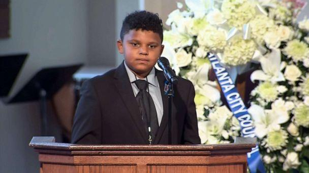 PHOTO: Tybre Faw, 12, reads one of Rep. John Lewis'' favorite poems, 'Invictus,' during Lewis'' funeral service at Ebenezer Baptist Church on July 30, 2020, in Atlanta (Pool via ABC News)