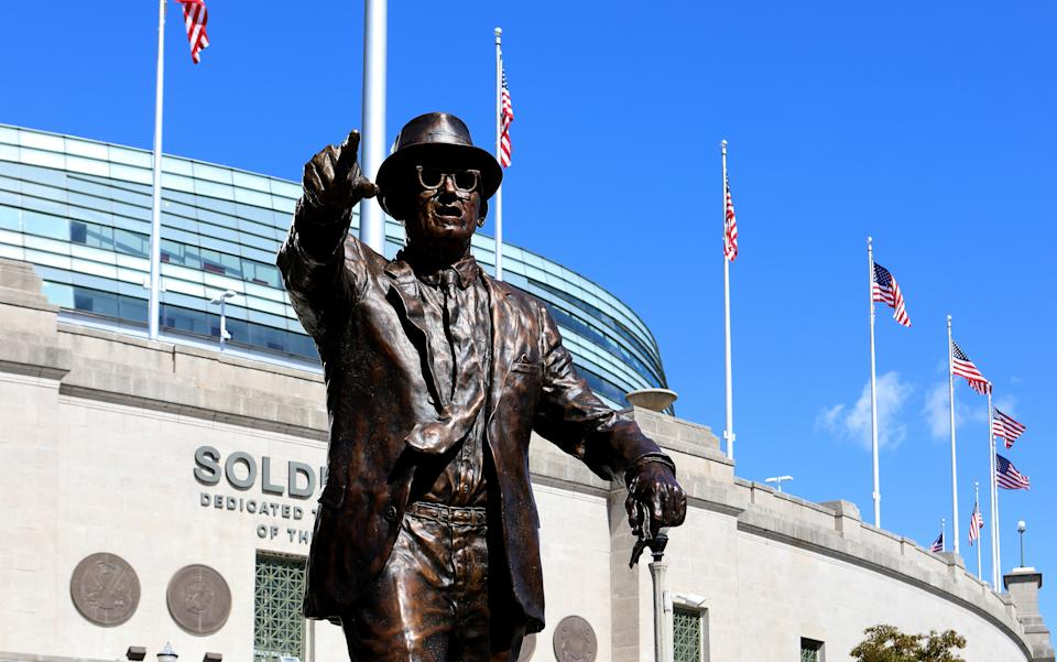 A statue of Chicago Bears founder, player, coach and owner George S. Halas stands outside Soldier Field.