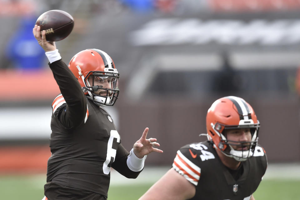 Cleveland Browns quarterback Baker Mayfield (6) throws against the Houston Texans during the first half of an NFL football game, Sunday, Nov. 15, 2020, in Cleveland. (AP Photo/David Richard)