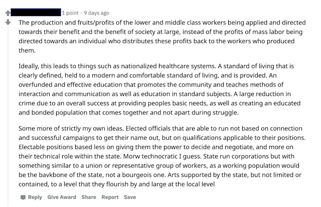 """<span class=""""caption"""">This Reddit post explores the benefits of changes that some might label as socialist.</span> <span class=""""attribution""""><span class=""""source"""">Screen shot by Robert Kozinets.</span></span>"""