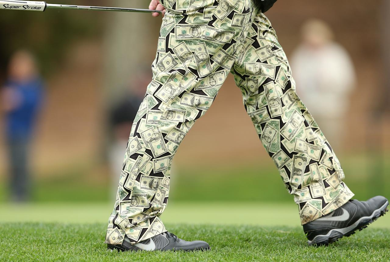 PEBBLE BEACH, CA - FEBRUARY 06: Detail of pants worn by John Daly as he walks on the 17th green during the first round of the AT&T Pebble Beach National Pro-Am at Spyglass Hill Golf Course on February 6, 2014 in Pebble Beach, California. (Photo by Christian Petersen/Getty Images)