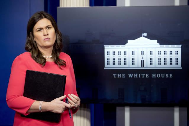 White House press secretary Sarah Sanders. (Photo: Andrew Harnik/AP)