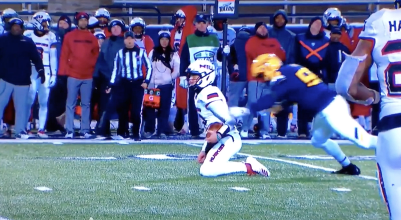 Toledo DE Terrance Taylor hit Northern Illinois quarterback Ross Bowers from behind well after he was already down. / Screenshot