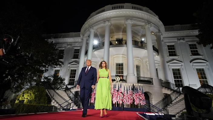 President Donald Trump and first lady Melania Trump arrive for his acceptance speech at the RNC.