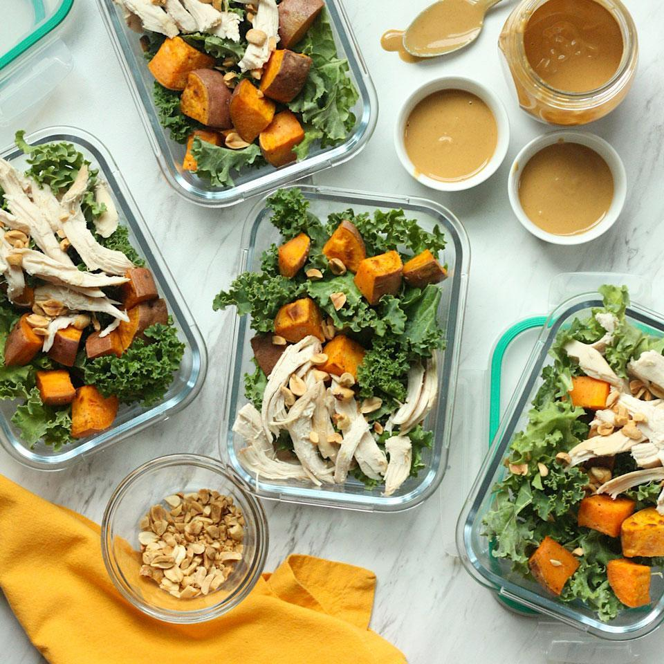 <p>These hearty kale salads hold up well for 4 days, making them perfect for meal-prep lunches. To keep the ingredients from getting soggy, dress this salad and top it with peanuts just before serving. For a delicious vegan option, swap in roasted tofu for the chicken breast (see Associated Recipes).</p>