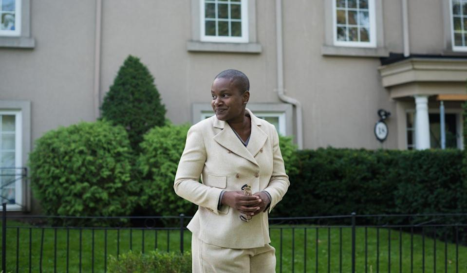 """<span class=""""caption"""">Annamie Paul is photographed before announcing she is officially stepping down as Green Party leader, ahead of a press conference at Suydam Park in Toronto in September 2021. </span> <span class=""""attribution""""><span class=""""source""""> THE CANADIAN PRESS/ Tijana Martin </span></span>"""