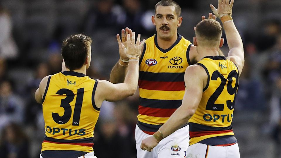 Taylor Walker has kicked 47 goals for the Crows this season, making his season-ending suspension a damaging blow. (Photo by Dylan Burns/AFL Photos via Getty Images)