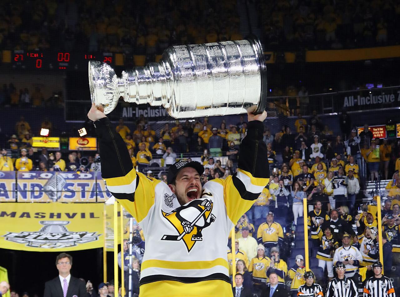 <p>The Stanley Cup may have stayed in the U.S., but it did spend some more time in Cole Harbour, N.S., thanks to another MVP playoff performance by Sidney Crosby. (Photo by Bruce Bennett/Getty Images) </p>