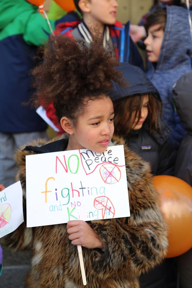 <p>Students at Science, Language and Arts International School in Brooklyn, New York take part in a national walkout to protest gun violence.<br> (Photo: Getty Images) </p>