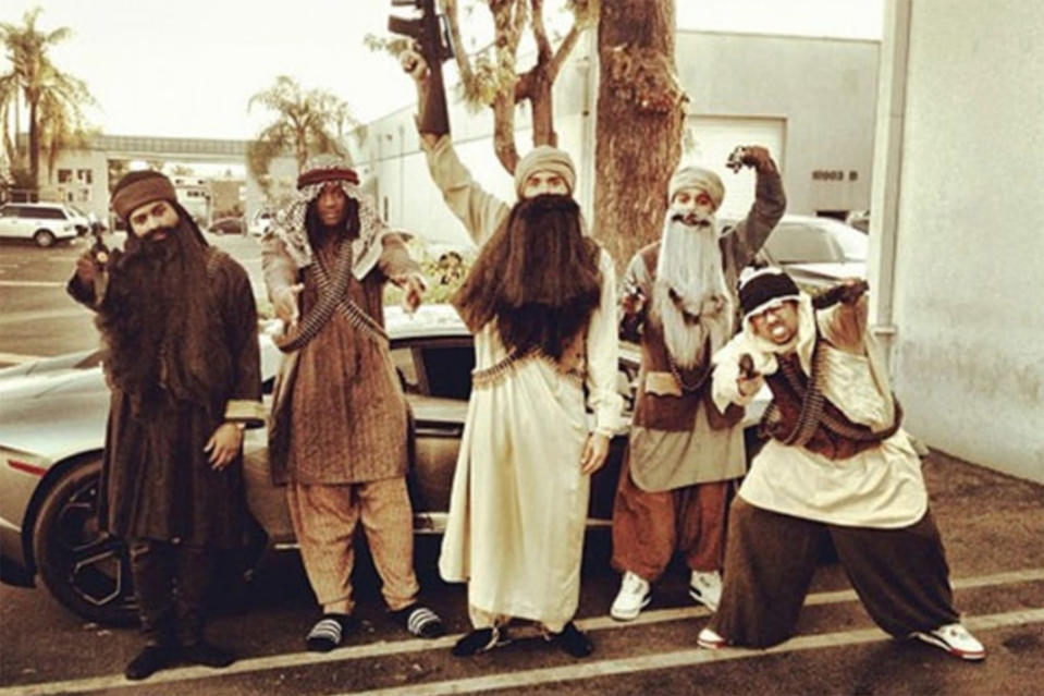 """<p>In 2013, Chris Brown went to Rihanna's Halloween bash dressed as a terrorist. Not ashamed by his controversial costume, the singer later told <em>Power 106</em> radio: """"Get over it, people! I was dressed as the people we killed – Bin Laden!""""<br><i>[Photo: Twitter/chrisbrown]</i> </p>"""