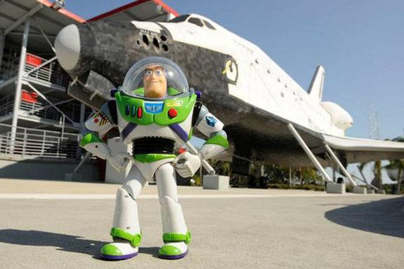 """Fulfilling his longtime dream to fly to """"infinity...and beyond!"""" a 12-inch-tall Buzz Lightyear action figure toy will be the special guest on the launch of space shuttle Discovery."""