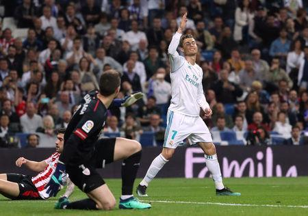 Soccer Football - La Liga Santander - Real Madrid vs Athletic Bilbao - Santiago Bernabeu, Madrid, Spain - April 18, 2018 Real Madrid's Cristiano Ronaldo reacts REUTERS/Susana Vera