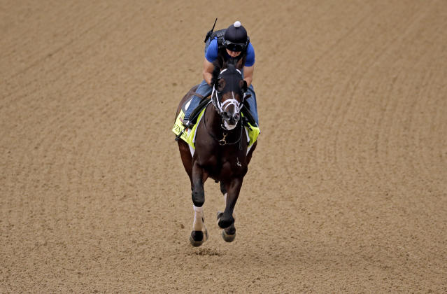 Exercise rider Ovel Merida takes Kentucky Derby hopeful Vinceremos for a morning workout at Churchill Downs Wednesday, April 30, 2014, in Louisville, Ky. (AP Photo/Charlie Riedel)