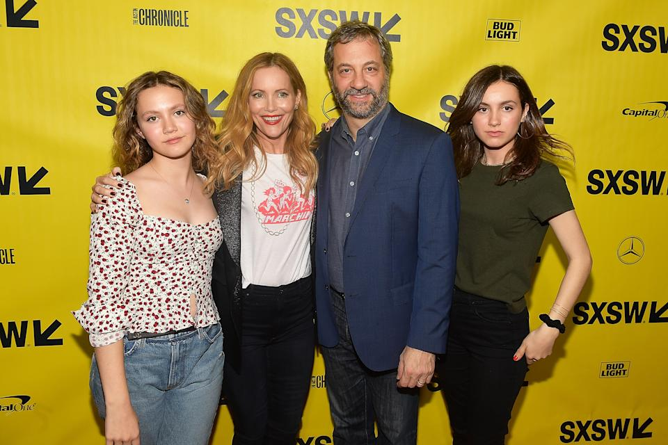 """Iris Apatow, Leslie Mann, Judd Apatow, and Maude Apatow attend the """"Blockers"""" Premiere on March 10, 2018. (Photo by Matt Winkelmeyer/Getty Images for SXSW)"""