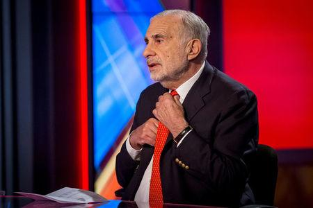 FILE PHOTO: Carl Icahn gives an interview on FOX Business Network in New York