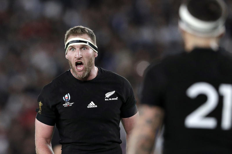 "FILE - In this Oct. 26, 2019, file photo, New Zealand's captain Kieran Read, left, yells instructions to his team during a Rugby World Cup semifinal match at International Yokohama Stadium between New Zealand and England in Yokohama, Japan. Now retired, Read has joined calls Tuesday, June 2, 2020, for an integrated international rugby season but said money ""coming out of the north"" might frustrate attempts to create a global calendar. (AP Photo/Aaron Favila, File)"